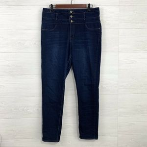 Refuge Skinny Leg High Waist Button Up Jeans